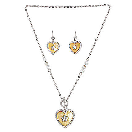 Golden Peacock Slver and Yellow Jewellery Set-Yellow Stone Heart Shaped Silver Color Jewelry Set