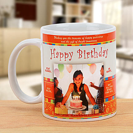 Cheers On the Birthday-Personalized Mug,White And Orange Color