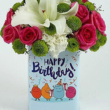 Happy Birthday Mixed Flowers Arrangement