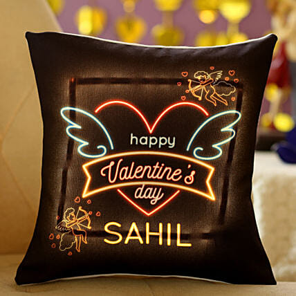 Happy Valentines Day Personalised LED Cushion