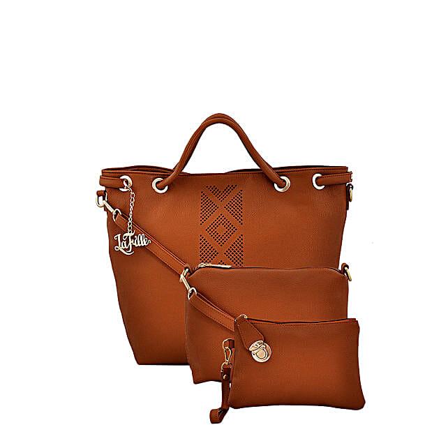 3 set of stylish tan colour handbag online