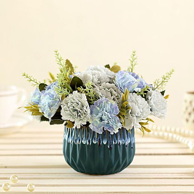 online blue artificial carnations in green pot online