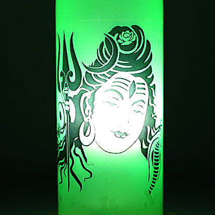 Lord Shiva Lamp-1 green coloured lord Shiva bottle lamp