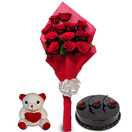 Love Treat for you - One sided Bunch of 12 Red Roses in red color paper packing, one 6 inch height  & 500gm Chocolate Truffle Cake.
