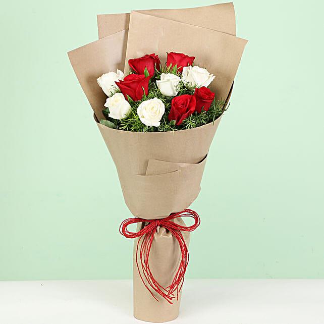 lovely red n white carnation online