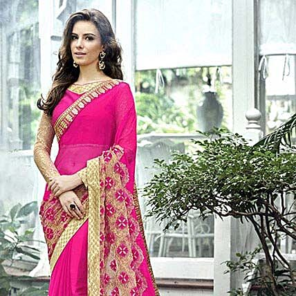 Magenta Border Worked Chiffon Partywear Saree For Women