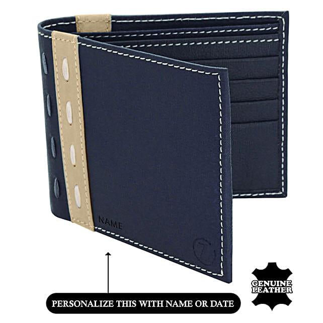 Online Blue & Beige Wallet For Men's