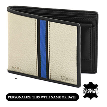 Cream and Black Me's Bi Fold Wallet