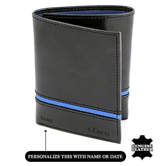 Online Tri- Fold Black and Blue Wallet