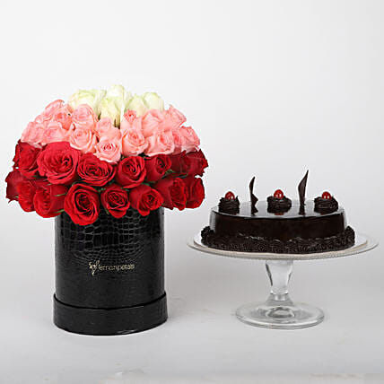 Mixed roses in box & truffle cake online