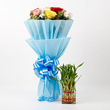 lovely roses bouquet with plants