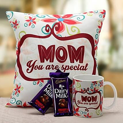 Mom Is Special-1 12x12 inch cushion for mom,1 mug for mom and 45 grams each of 2 dairy milk fruit n nut