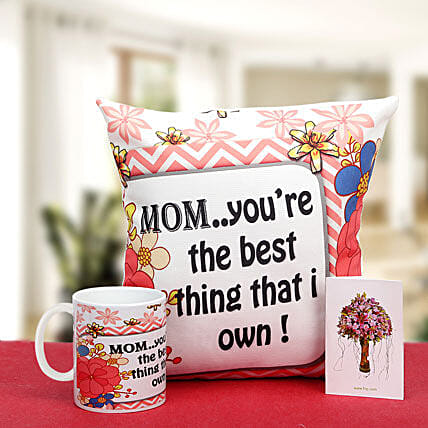 Munificent Mommy-12x12 inches mother special cushion,white ceramic coffee mug and greeting card