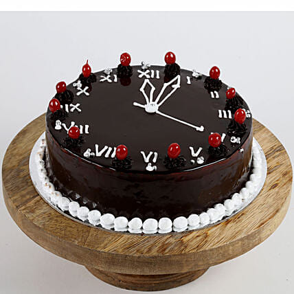 clock printed cake for new year