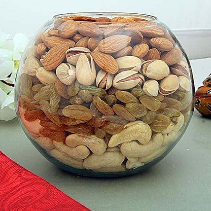 Mixed dry fruits in a glass bowl