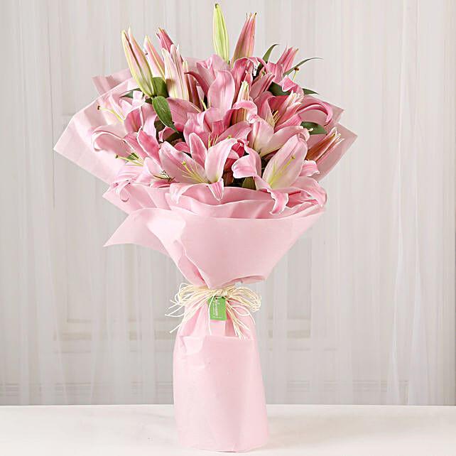 Beautiful Pink Lilies Bouquet Online