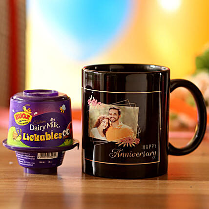 customised printed mug with chocolate combo for anniversary