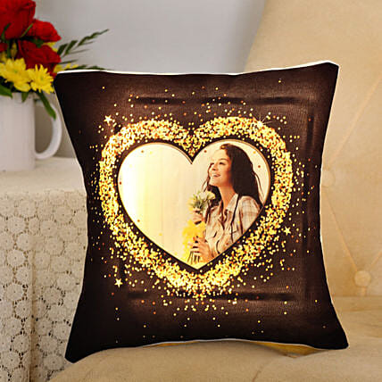 Personalised Blingy Heart LED Cushion