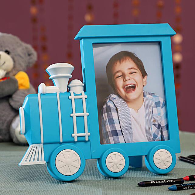 Personalised Blue Train Photo Frame