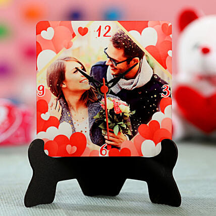 valentine special photo printed table clock for her