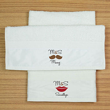 Personalised Hand Towel Set For Couple