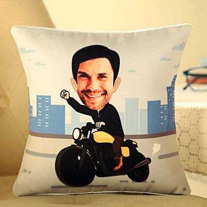 funny caricature printed cushion for him online