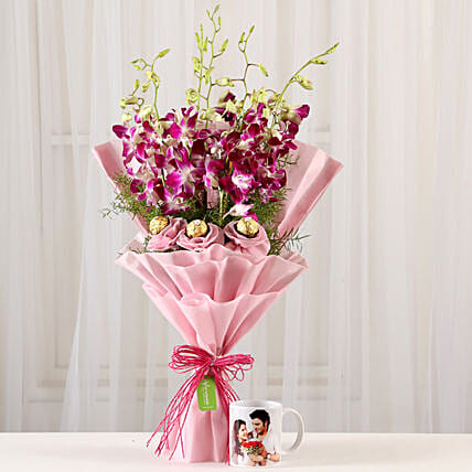 Online Personalized Mug and Ferrero Orchids Bouquet