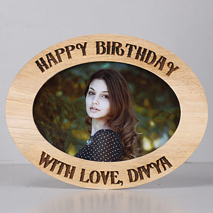 oval shape One Personalised Wooden photo frame for birthday