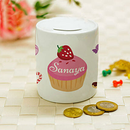 Personalised Strawberry Cupcake Piggy Bank