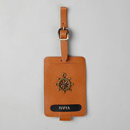 Personalised Tan Brown Luggage Tag