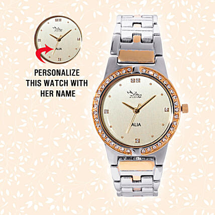 Golden Trendy Valentine Personalised Watch Online