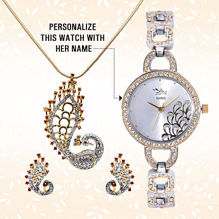 Personalised Watch & Designer Peacock Pendant Set