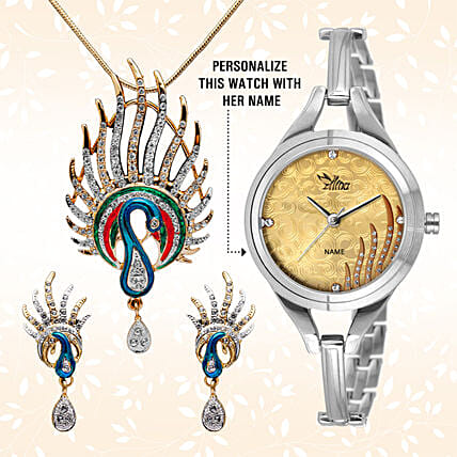 Personalised Watch & Designer Pendant Set