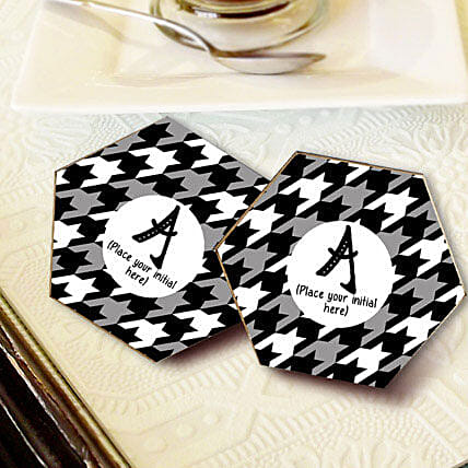 Personalized Letter Coasters-Black personalized coasters set of 4 size 3.3x3.3
