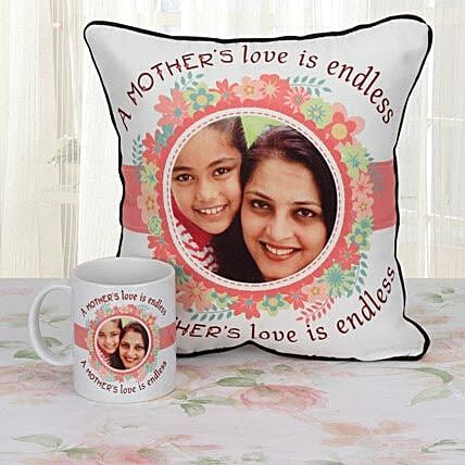 Personalized cushion and mug combo for mom