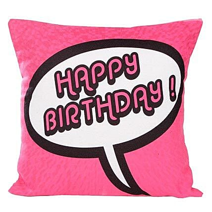 Pink Birthday Cushion-12X12 inches Cushion with message,Happy Birthday printed on it
