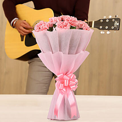 pink carnations bouquet with musical  rhythms online