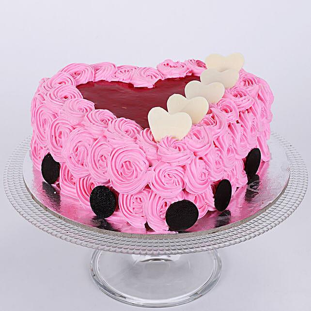 Pink Flower Heart Cake 1kg