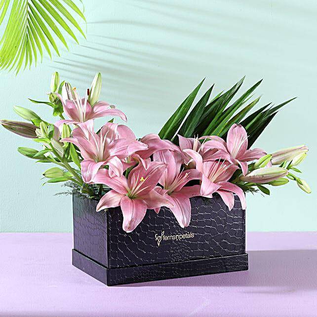 lilies flower in designer box arrangement