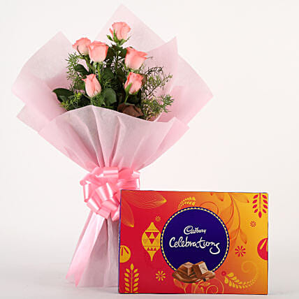 Pink Roses N Chocolates - Bunch of 6 Pink Roses with Cadbury Celebration Pack 119gms. choclates womens day women day woman day women's day