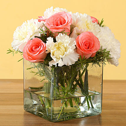 Online Pink Roses and Carnations