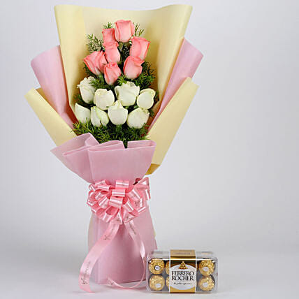 Mixed Roses Bouquet and Chocolate Online