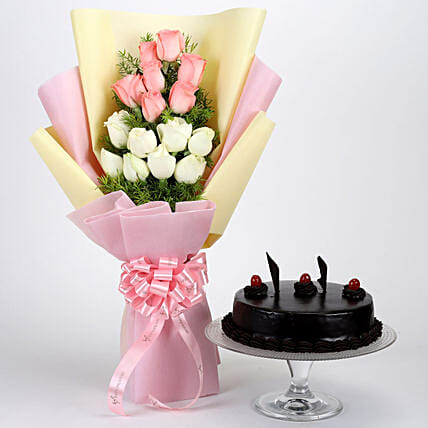 Pink and White Roses with Truffle Cake Online
