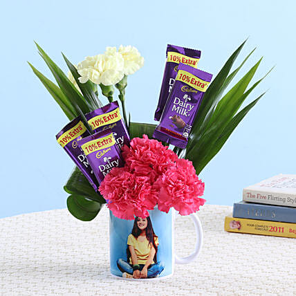 Online Flower With Picture Mug  And Chocolates