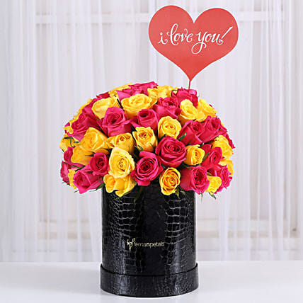 yellow n pink rose in attractive box arrangement