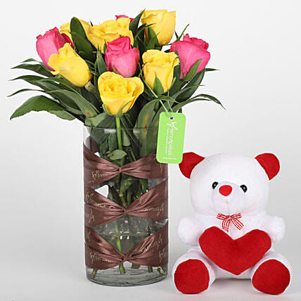 Cute teddy n floral arrangement combo