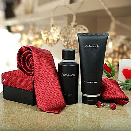 Tie, cufflinks, pocket square, body spray, hair and body wash gift set