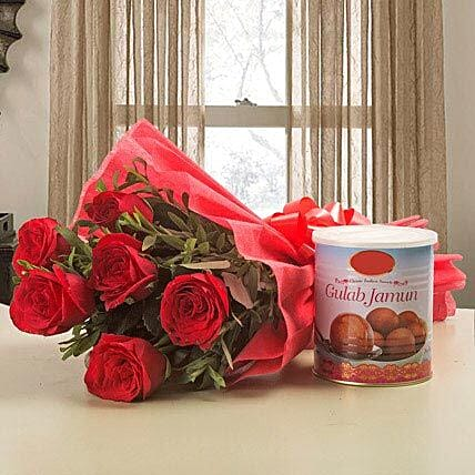 Pretty Choice - Bunch of 6 Red Roses with Gulab Jamun 1kg.