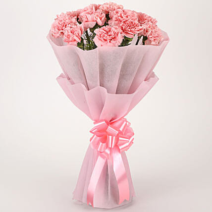 Pink Combination - Bunch of 10 Pink Carnations in pink paper packing.