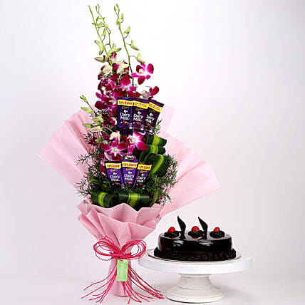 Online Dairy Milk Orchids Bouquet And Truffle Cake